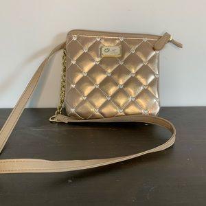 Betsey Johnson rose gold chain strap crossbody bag